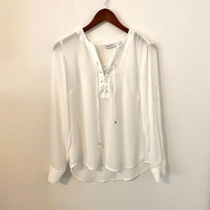 NY&CO white sheer lace up blouse XS